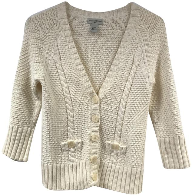 Item - Beige Sweater Cotton Long Sleeve V-neck Cardigan Size 6 (S)