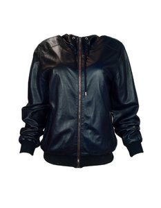 Gucci Men Bomber Hooded Leather Military Jacket