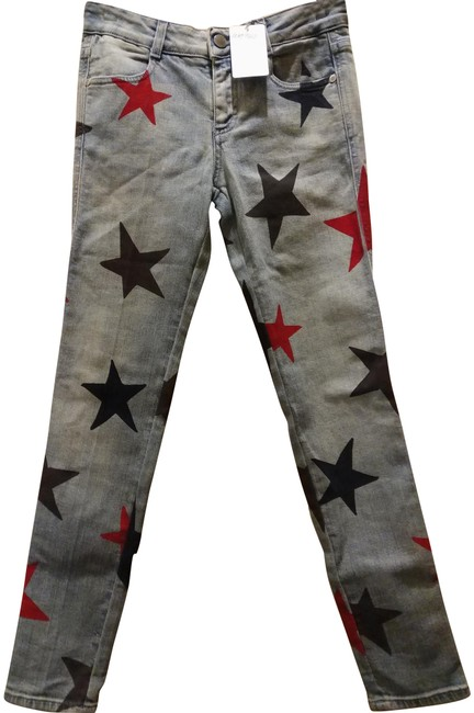Item - Blue Red Black Light Wash Made In Italy with Stars Skinny Jeans Size 24 (0, XS)