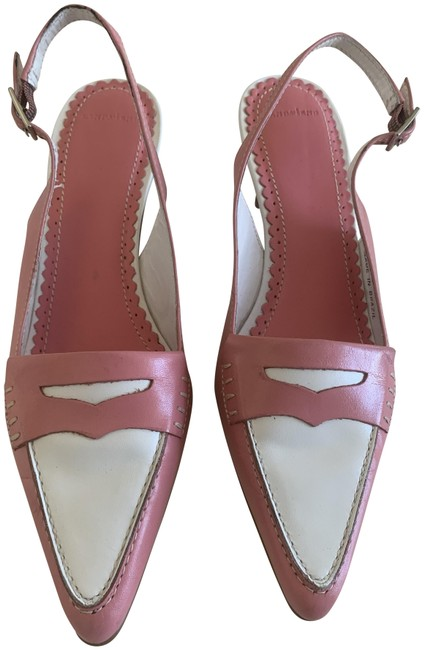 Item - Pink and White Sling Back with Kitten Heel Pumps Size US 6 Regular (M, B)