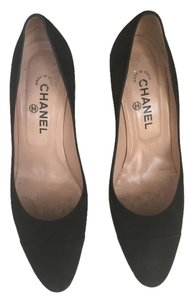 Chanel Suede Heel Classic Black Comfortable Black Suede Pumps