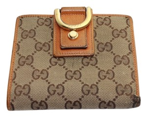 Gucci Gucci D Ring Monogram Canvas Orange Leather Trim wallet GGAV23
