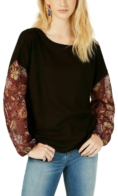 Item - Multicolor Waffle Knit Sheer Sleeve Black M New Blouse Size 8 (M)