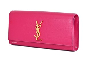 Saint Laurent Monogram Leather Pink Clutch