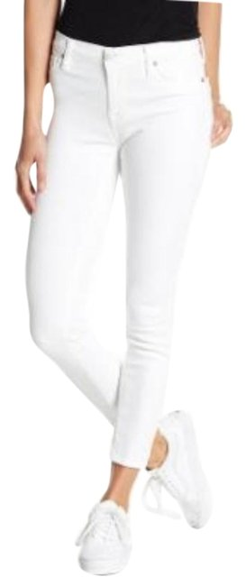 Item - White Coated Natalie Mid Rise Ankle Skinny Jeans Size 26 (2, XS)