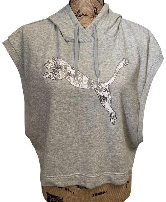 Item - Gray Solstice Sl Cropped Hoodie Sleeveless Light Heather Activewear Top Size 12 (L)