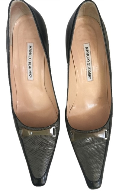 Manolo Blahnik Black with Gray Accents Snakeskin Classic Pumps Size US 10 Regular (M, B) Manolo Blahnik Black with Gray Accents Snakeskin Classic Pumps Size US 10 Regular (M, B) Image 1