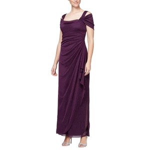 Plum Maxi Dress by Alex Evenings Ruched Skirt Mother Of The Bride Party Formal