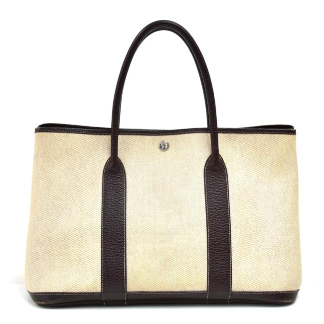 Item - Garden Party Bag Pm Chocolate Brown Leather Beige Coated Canvas Tote