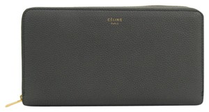 Céline Celine Large Ziped Multifunction 105003 Women's Calfskin Long Wallet (bi-fold) Gray,Light Blue Gray