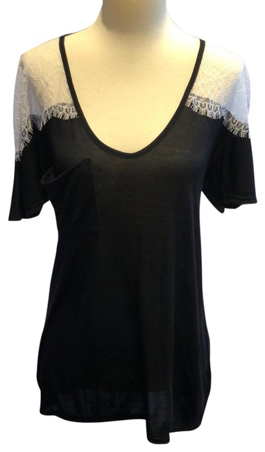 Item - Black and White Lace Shoulder Deep V Neck Tee Blouse Size 8 (M)
