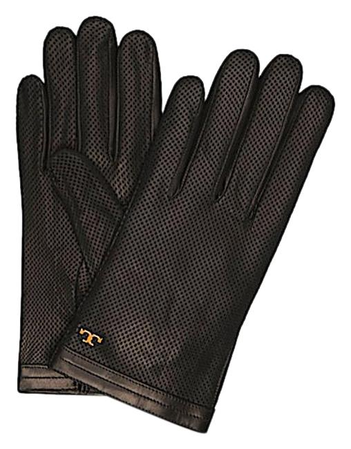 Item - Black/Gold with Tag Size:8.5 Perforated Leather Gloves