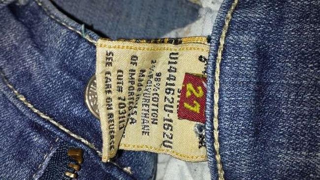 7 For All Mankind Studded Stretchy Seven Boot Cut Jeans-Medium Wash