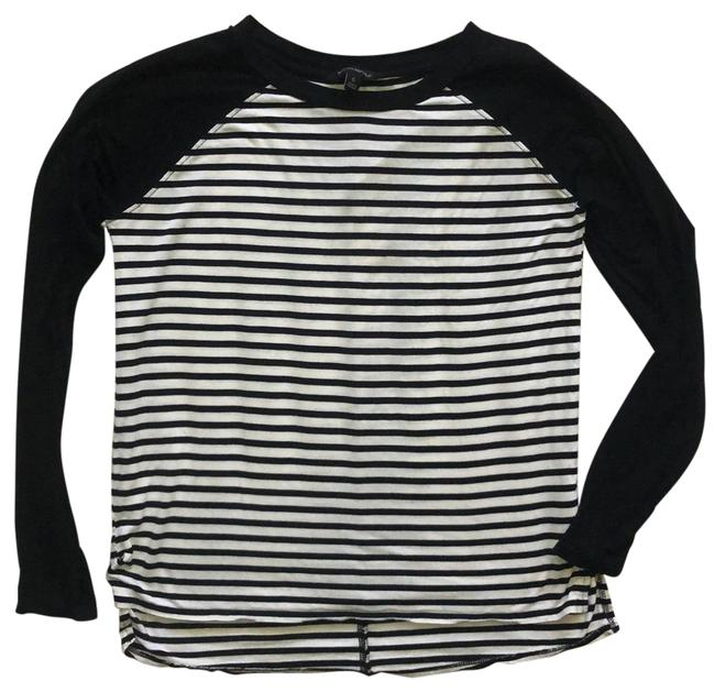 Item - Black and White Long Sleeve Stretch Tee Shirt Size 6 (S)