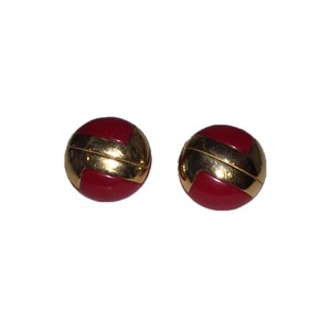 lanvin Lanvin Red and Gold Monogram Earrings