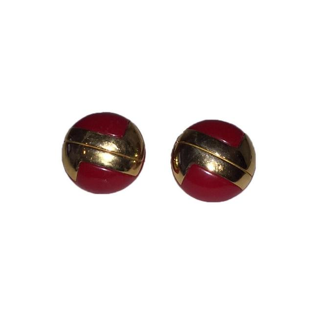 Item - Red And Gold Monogram Earrings