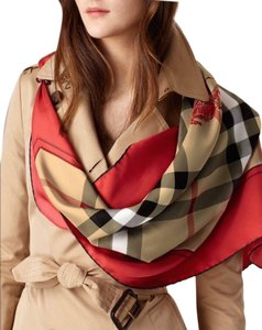 Burberry NEW AUTHENTIC Burberry Horseferry Beige Check Red Silk Square Scarf
