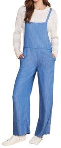 Lou & Grey Squar Neck Overalls Side Button Overalls Adjustable Overalls Chambray Overalls Fabric Carpenter Pants Blue