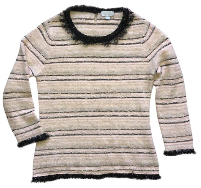 Item - Textured Fuzzy Black and Pink Sweater