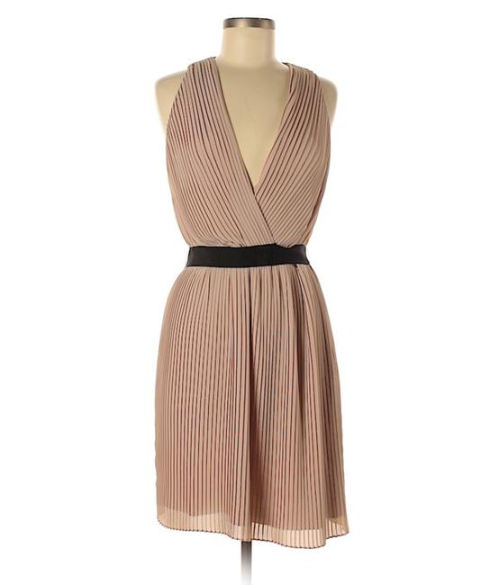 Item - Nude/Tan Pleated Chiffon Deep V For and Flare Short Night Out Dress Size 6 (S)