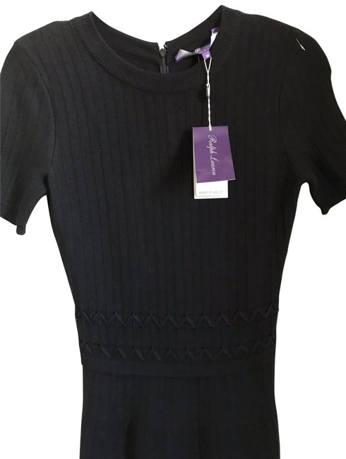Item - Black Knitted Long Cocktail Dress Size 6 (S)