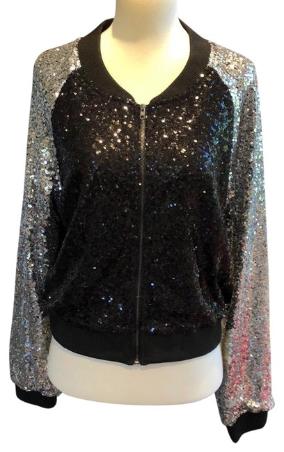 Item - Black and Silver Cropped Sequin Bomber Jacket Blazer Size 8 (M)
