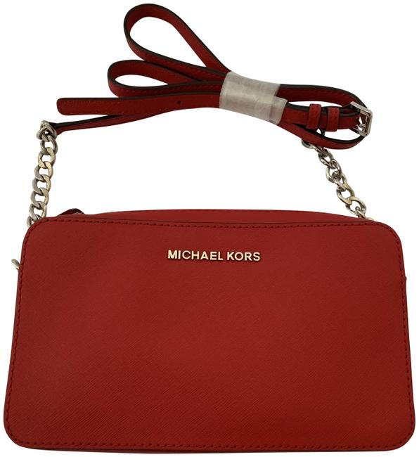 Item - East West Jet Set Travel Large Safiano Red Leather Cross Body Bag