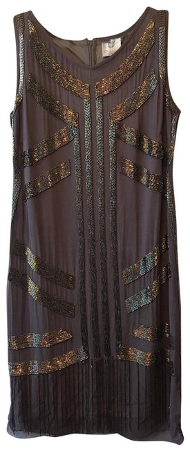 Item - Mauve - Brown Sheath with Gold and Black Beading Mid-length Cocktail Dress Size Petite 8 (M)
