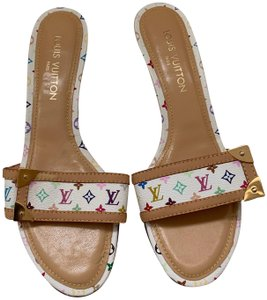 Louis Vuitton Sandals Slides White Multicolor Mules