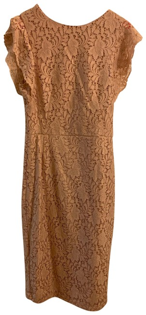 Item - Nude Lace Midi Mid-length Cocktail Dress Size 4 (S)