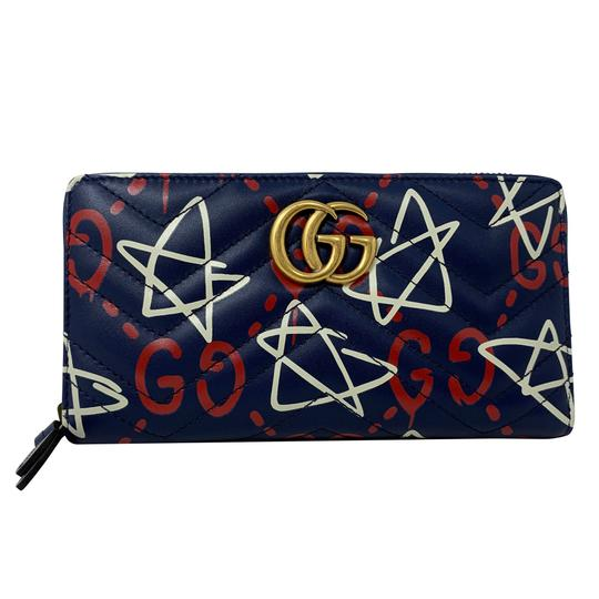 Preload https://img-static.tradesy.com/item/26101308/gucci-new-blue-leather-marmont-ghost-zip-around-clutch-448087-gg-wallet-0-1-540-540.jpg