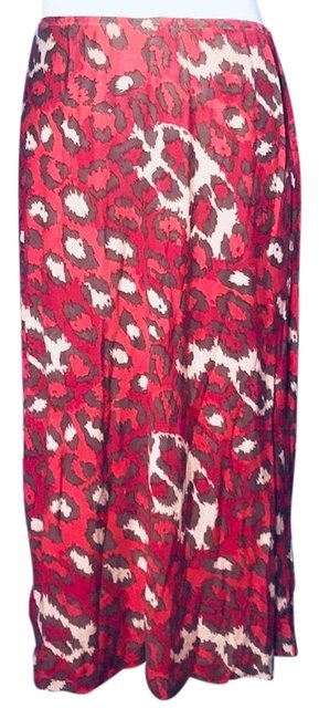 Item - Red and Brown Animal Pencil Silk Skirt Size 4 (S, 27)
