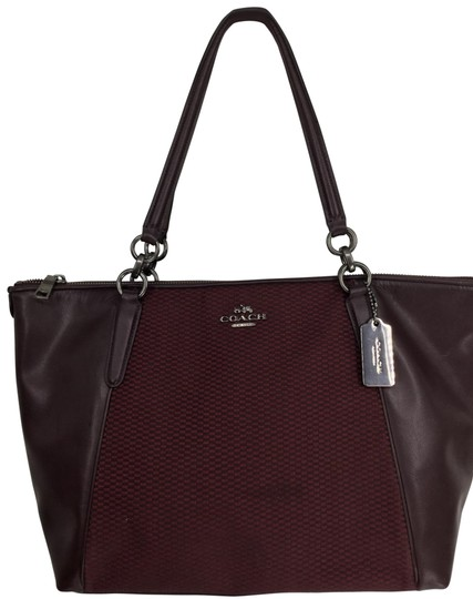 Preload https://img-static.tradesy.com/item/26101964/coach-ava-legacy-jacquard-f57246-oxblood-canvas-and-leather-tote-0-1-540-540.jpg