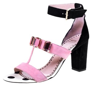 Moschino Crystal Suede Embellished Ankle Pink Sandals