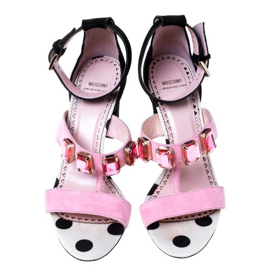Moschino Crystal Suede Embellished Ankle Pink Sandals Image 1