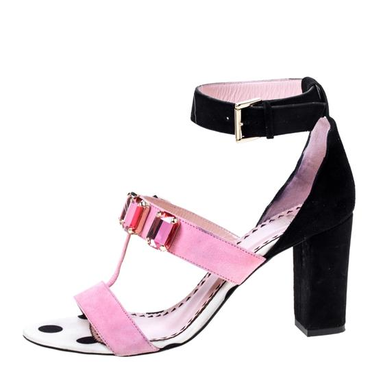 Moschino Crystal Suede Embellished Ankle Pink Sandals Image 4