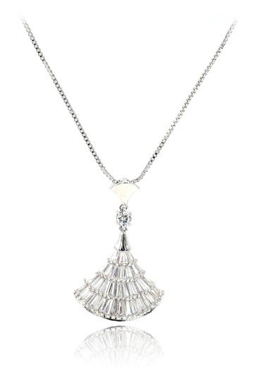 Ocean Fashion Sparkling crystal dress silver necklace Image 0