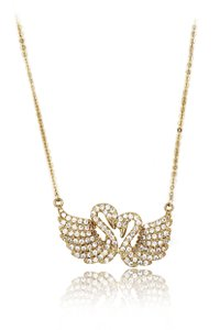 Ocean Fashion Gold sweet swan love crystal necklace