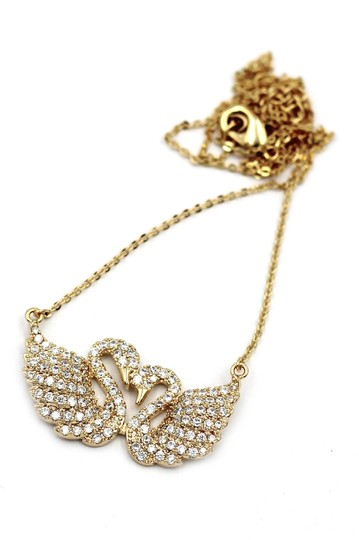 Ocean Fashion Gold sweet swan love crystal necklace Image 1