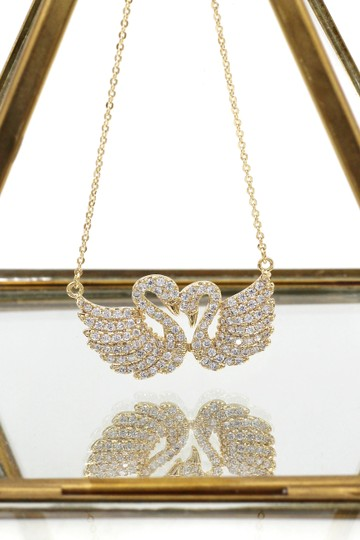 Ocean Fashion Gold sweet swan love crystal necklace Image 2
