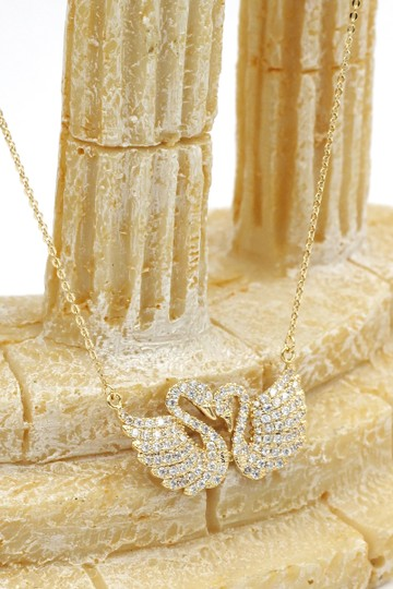 Ocean Fashion Gold sweet swan love crystal necklace Image 3