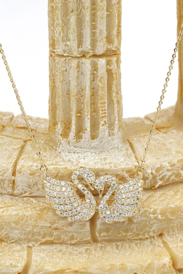 Ocean Fashion Gold sweet swan love crystal necklace Image 4
