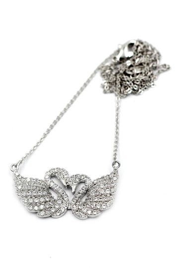 Ocean Fashion Silver sweet swan love crystal necklace Image 1