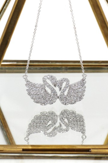 Ocean Fashion Silver sweet swan love crystal necklace Image 2