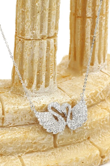 Ocean Fashion Silver sweet swan love crystal necklace Image 3