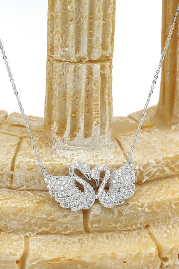 Ocean Fashion Silver sweet swan love crystal necklace Image 4