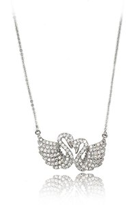 Ocean Fashion Sterling silver sweet swan love crystal necklace