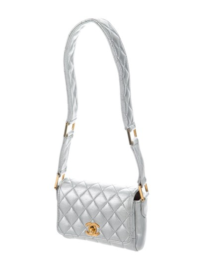 Chanel Micro Mini Vintage Satchel in Silver Metallic Image 2