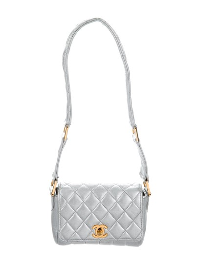 Chanel Micro Mini Vintage Satchel in Silver Metallic Image 4
