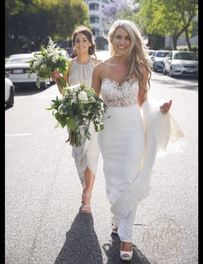 Martina Liana Off-white (Ivory) Bellagio Crepe Skirt and Lace Top Sexy Wedding Dress Size 6 (S) Image 6